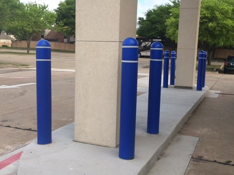 Blue Bollards Protecting Awning